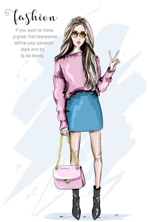 Hand drawn fashion woman in sunglasses. Stylish beautiful young woman with bag. Sketch. Vector illustration.
