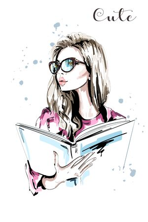 Hand drawn beautiful woman with book. Fashion woman in eyeglasses. Stylish blond hair girl portrait. Sketch. Vector illustration. Illustration