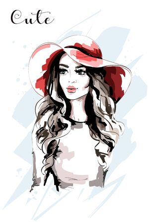 Hand drawn beautiful woman in red hat. Fashion lady. Stylish young woman portrait. Sketch.