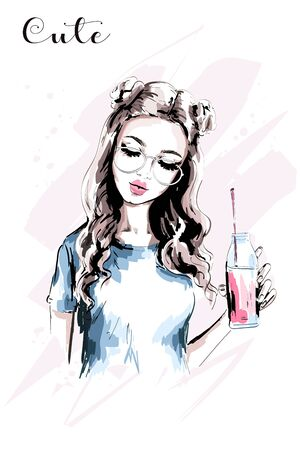 Hand drawn beautiful girl with stylish hairstyle. Fashion woman with drink bottle. Cute young woman portrait. Fashion girl in eyeglasses. Sketch. Vector illustration. Illustration