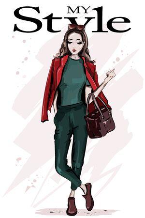 Hand drawn fashion woman with bag. Stylish beautiful young woman with sunglasses. Fashion model posing. Sketch. Illustration
