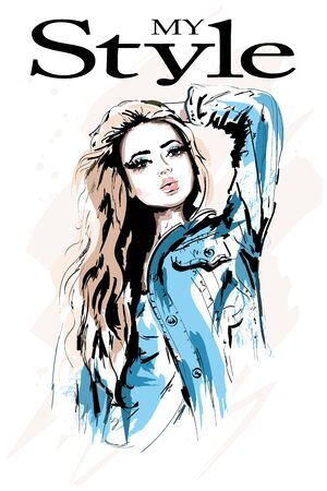 Hand drawn beautiful woman portrait. Stylish woman in jeans jacket. Fashion girl with blond hair. Sketch.
