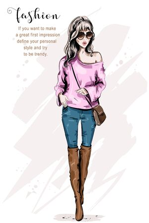 Fashion model posing. Stylish beautiful young woman in fashion clothes. Fashion look. Cute girl in sunglasses. Sketch. Illustration