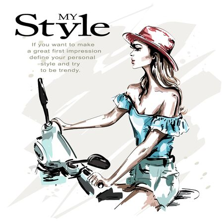Hand drawn beautiful young woman in hat with scooter. Fashion woman riding. Stylish girl in fashion clothes. Sketch.