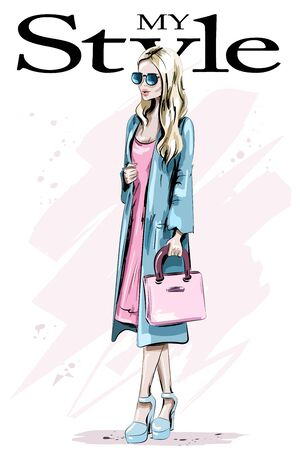 Fashion model posing. Beautiful blond hair woman with bag. Stylish woman in coat. Sketch. Vector illustration.