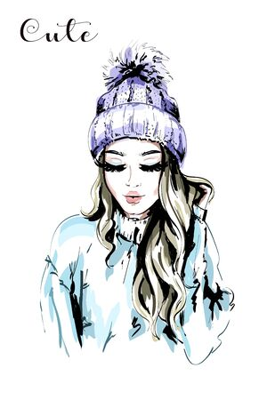 Beautiful young woman in knitted Hat with Fur Pom-Pom. Hand drawn fashion woman portrait. Stylish cute girl. Autumn outfit. Sketch.