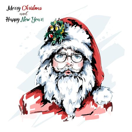 Hand drawn cute Santa Claus portrait. Stylish hipster santa in eyeglasses and red hat. Christmas web banner. Sketch.