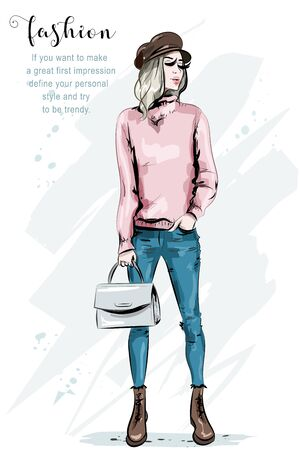 Pretty young woman in cap. Fashion model posing. Stylish girl with bag. Beautiful lady in fashion clothes. Sketch.
