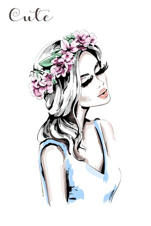 Beautiful woman with flower wreath in her hair. Hand drawn cute girl. Fashion woman. Sketch. Illustration