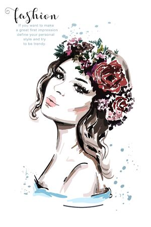 Realistic woman portrait. Hand drawn beautiful young woman with hair flower wreath. Cute fashion girl. Sketch.