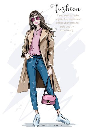 Fashion model posing. Beautiful young woman in coat. Fashion woman with bag. Hand drawn girl in sunglasses. Sketch. Vector illustration.