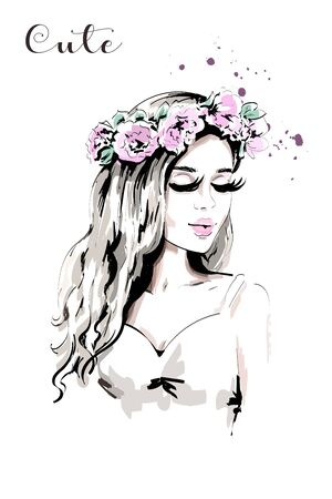 Beautiful young woman with flower wreath in her hair. Hand drawn woman portrait with curly hair. Cute girl. Sketch. Stock Illustratie