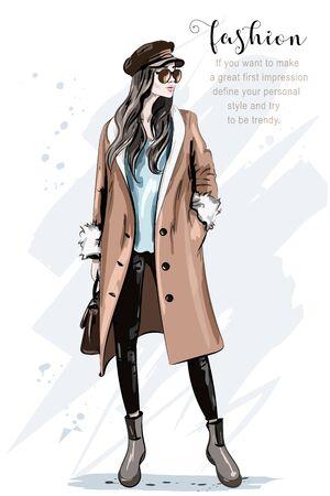 Fashion model posing. Stylish beautiful woman in coat and cap. Hand drawn fashion woman. Sketch. Vector illustration.