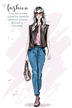 Hand drawn beautiful fashion model posing. Stylish fashion woman. Cute blond hair girl. Sketch. Vector illustration.
