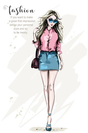 Fashion model posing. Hand drawn stylish woman in fashion clothes. Beautiful young woman with bag. Cute girl in sunglasses. Sketch.