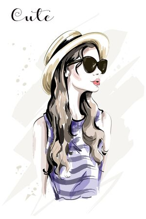 Hand drawn beautiful young woman in hat. Fashion woman in sunglasses. Stylish cute girl. Sketch. Vector illustration. Ilustração