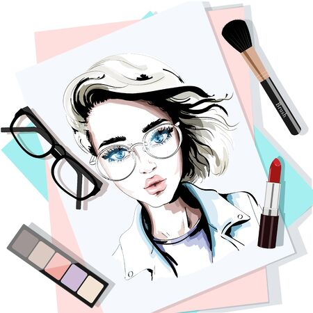 Stylish table set with hand drawn woman portrait, papers, lipstick, eyeglasses, brush and eyeshadows. Sketch. Vector illustration.