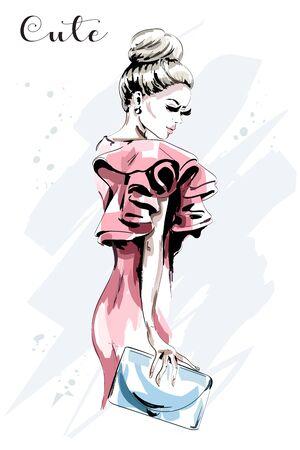 Hand drawn woman portrait. Beautiful young woman in fashion dress. Stylish lady with hand bag. Fashion model. Illustration