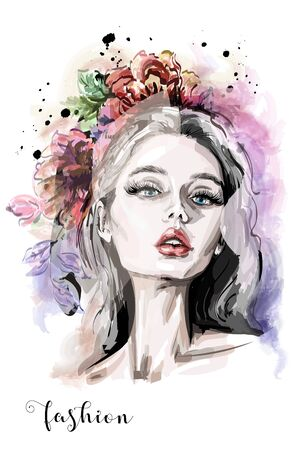 Stylish composition with hand drawn beautiful young woman portrait, flowers and watercolor blots. Fashion illustration. Sketch. Ilustração