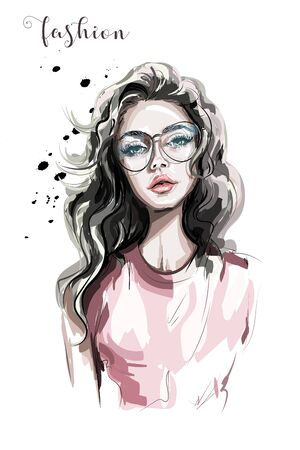 Beautiful young woman in eyeglasses. Fashion woman. Stylish girl with long hair. Sketch. Ilustração