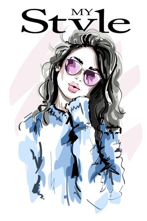 Hand drawn beautiful young woman in sunglasses. Fashion woman. Sketch. Vector illustration.