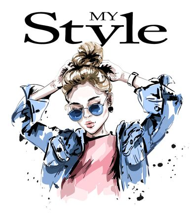 Fashion woman in jeans jacket. Stylish beautiful young woman in sunglasses. Sketch.