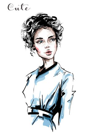 Hand drawn beautiful young woman with curly hair and freckles on her face. Stylish elegant girl. Fashion woman portrait. Sketch. Ilustração
