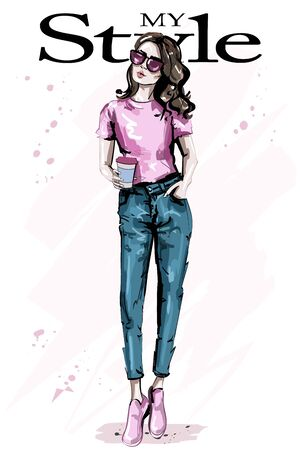 Hand drawn beautiful young brown hair woman. Stylish elegant girl. Fashion woman outfit. Sketch. 일러스트