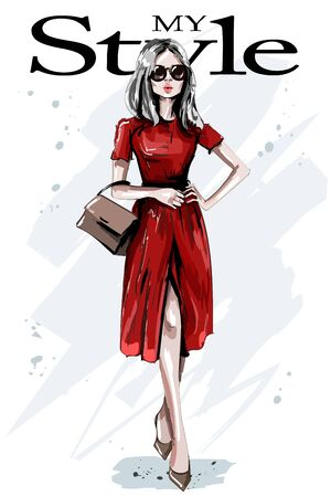 Hand drawn beautiful young woman in red dress. Stylish elegant girl with bag. Fashion woman outfit. Sketch.