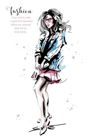 Hand drawn beautiful young woman in jeans jacket. Stylish elegant girl. Fashion woman outfit. Sketch. 일러스트
