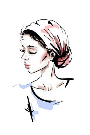 Hand drawn beautiful young woman. Stylish elegant girl. Fashion woman portrait. Sketch.