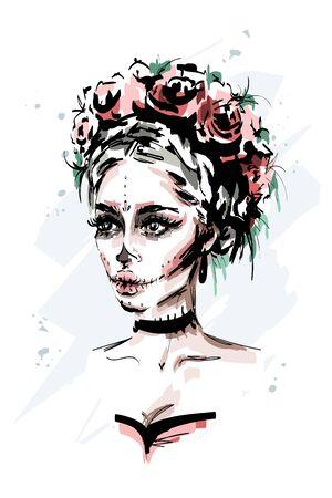 Hand drawn beautiful young woman with santa muerte makeup. Stylish halloween look. Fashion woman portrait. Sketch. 일러스트