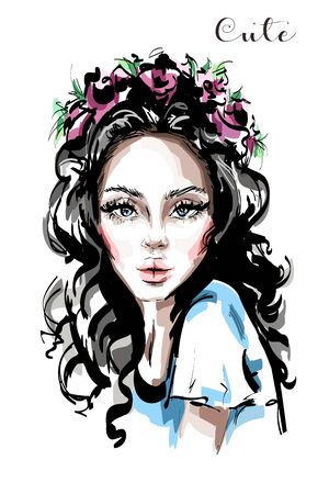 Hand drawn beautiful young woman with flower wreath in her hair. Stylish elegant girl. Fashion woman portrait. Sketch.