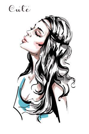 Hand drawn beautiful young woman profile. Stylish elegant girl with long blond hair. Fashion woman portrait. Sketch.