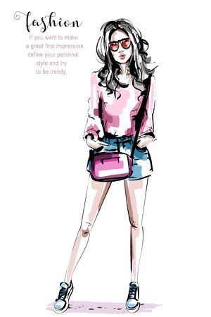 Hand drawn beautiful young woman with bag. Stylish elegant girl. Fashion woman portrait. Sketch.