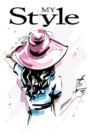 Hand drawn beautiful young woman in hat. Stylish elegant girl holding a glass. Fashion woman back. Sketch. 일러스트