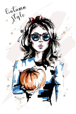 Hand drawn beautiful young woman holding pumpkin. Stylish elegant girl with red bow in her hair. Fashion woman in sunglasses. Sketch.