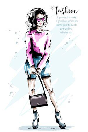 Hand drawn beautiful young woman with bag. Stylish elegant girl in sunglasses. Fashion woman full body portrait. Sketch.