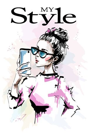 Hand drawn beautiful young with phone in her hand. Stylish elegant girl in sunglasses. Fashion woman making selfie. Sketch.