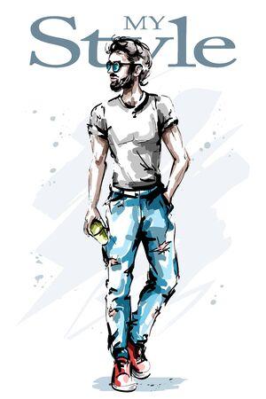 Hand drawn handsome young man with beard. Stylish elegant man. Fashion guy. Sketch.
