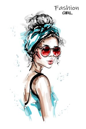 Hand drawn beautiful young woman with headband. Stylish elegant girl in sunglasses. Fashion woman portrait. Sketch