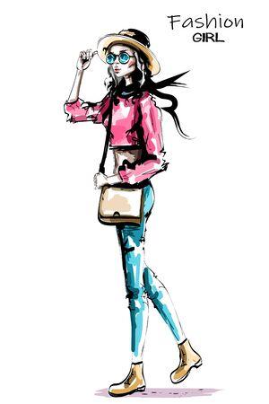 Stylish beautiful fashion woman walking. Fashion look. Hand drawn woman in hat and sunglasses. Sketch.