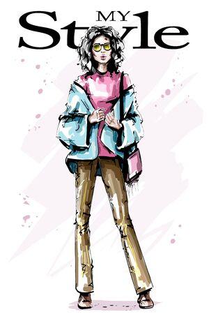 Hand drawn beautiful young woman in sunglasses. Fashion look. Stylish elegant girl with bag. Fashion woman portrait. Sketch.