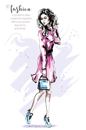 Hand drawn beautiful young woman in pink dress. Stylish elegant girl with bag. Fashion woman outfit. Sketch. 일러스트