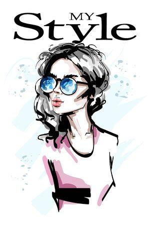 Hand drawn beautiful young woman in sunglasses. Stylish elegant girl. Fashion woman portrait. Sketch. 일러스트