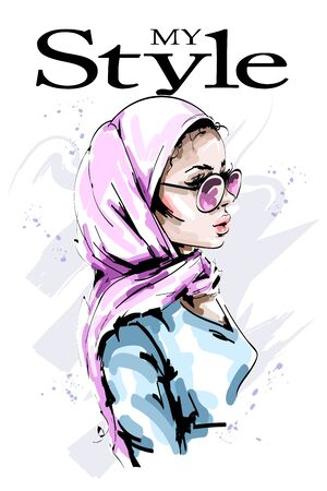Hand drawn beautiful young woman in head scarf. Stylish elegant girl in hijab. Fashion woman portrait. Sketch. 일러스트