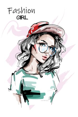Hand drawn beautiful young woman in red cap. Stylish elegant girl in casual clothing. Fashion woman portrait. Sketch.
