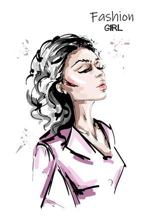 Hand drawn beautiful young woman fashion look. Stylish elegant girl with bag. Fashion woman full body portrait. Sketch. 일러스트