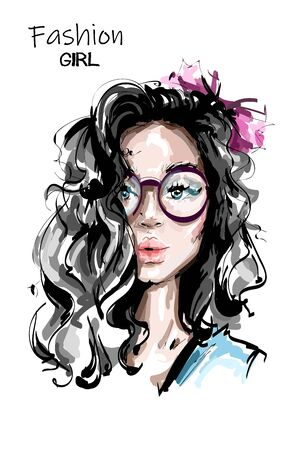 Hand drawn beautiful young woman with long hair. Stylish elegant girl with bow in hair. Fashion woman portrait. Sketch.