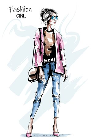 Hand drawn beautiful young woman with bag. Stylish autumn outfit. Fashion woman look. Sketch.
